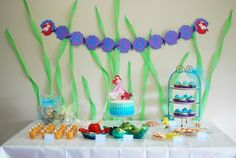 Cake at a Mermaid party.  See more party ideas at CatchMyParty.com  #mermaidparty