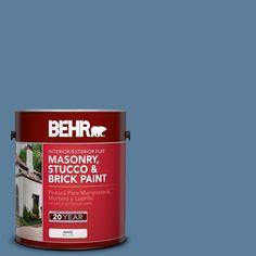 BEHR 1 gal. #pfc-58 Alpine Sky Flat Interior/Exterior Masonry, Stucco and Brick Paint