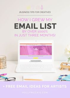 Learn how I grew my email subscriber list by over 1000% in just three months! Plus, when you click through, you can download a free workbook that helps you come up with topics - especially for creative bloggers!