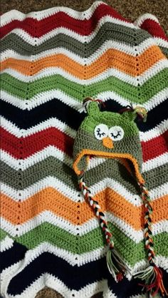 Matching owl hat and afghan I made for my niece's baby boy ♡♡♡