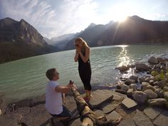 She said yes! Proposal on Lake Louise in Alberta, Canada by Adam Medlicott and Jenn Cox. Get this shot by mounting your GoPro camera to a stick with a Handlebar / Seatpost / Pole Mount: http://gopro.com/camera-mounts/handlebar-seatpost-pole-mount