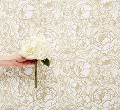 An updated feel on floral wallpaper. Attic Master Bedroom, Temporary Wallpaper, Bathroom Wallpaper, Peonies, How To Draw Hands, Neutral, Design Ideas, Tapestry, Wallpapers