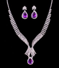Amethyst Purple Crystal Rhinestone Formal Wedding Bridal Prom Party Pageant Evening Teardrop Pendant Necklace Earrings Set Elegant Costume Jewelry