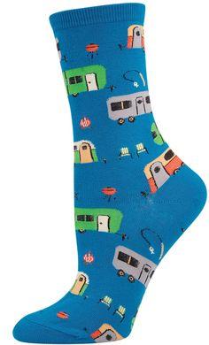 Women's Novelty Comfort Crew Socks Camptown Design - Lycra/nylon/cotton