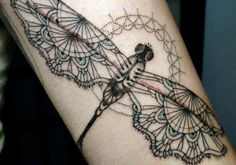 Artistic Lace Tattoo Designs: Lace With Dragonfly Tattoos Designs For Women ~ tattooeve.com Tattoo Design Inspiration