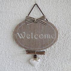 Targa per porta ovale in legno con scritta welcome