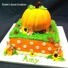Fall pumpkin birthday cake Pumpkin Birthday Cakes, Fall Birthday Cakes, Pumpkin Patch Birthday, Pumpkin Birthday Parties, First Birthday Parties, Pumpkin Cakes, Birthday Ideas, Fondant Cakes, Cupcake Cakes