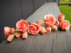 Peach Pink Rose Hair Pins, Set of 5, Clay Flowers on Etsy, $50.00