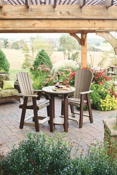 Amish Polywood Pub Table and Balcony Pub Chairs Set