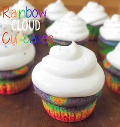 Rainbow Cloud Cupcakes. Happy St. Patty's Day everyone! These cupcakes are perfect for celebrating today and kids will absolutely love them! The vanilla cupcakes are super moist and are topped with a fluffy marshmallow frosting.