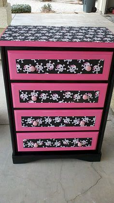 Zizi wants her dresser redone this way. I've already repainted her dresser once..wonder if I can redo it again?