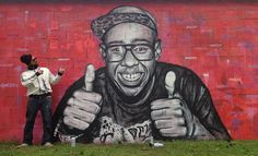 Dope wall by @swed_oner in #france (Http://globalstreetart.com/swed)  #globalstreetart #france #portrait #characters #wall #sprayart #spraypaint #streetartandgraffiti #urbanart