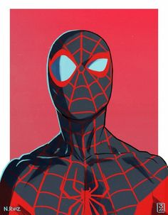 Black Spiderman, Spiderman Spider, Amazing Spiderman, Marvel Art, Marvel Heroes, Marvel Characters, Spider Man Caricatura, Pop Art, Miles Morales Spiderman