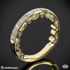 18k Yellow Gold Verragio PAR 3042W Pave Diamond Wedding Ring