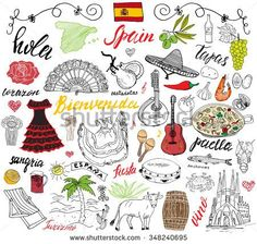 Find Spain Doodles Elements Hand Drawn Set stock images in HD and millions of other royalty-free stock photos, illustrations and vectors in the Shutterstock collection. Spanish Flags, Spanish Food, Birthday Flags, Travel Doodles, Thinking Day, Flags Of The World, Doodle Sketch, Flag Design, How To Draw Hands