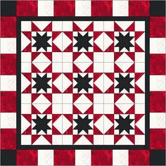 Free star quilt idea (RED&WHITE&BLACK),design by Dorte Rasmussen Denmark
