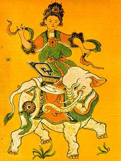 """""""Folk art of Trieu Thi Trinh depicted as a 9-foot-tall (2.7 m) giantess with pendulous breasts riding upon a huge elephant...  After death, Trinh continued haunting the Chinese general and forced him to defend by drawing one hundred penises and hanging them over the door."""""""