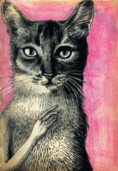 Magda Boreysza - love the expression in the kitty's eyes but not sure about that creepy little hand...