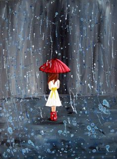 Red umbrella young lady  walking in rain painting