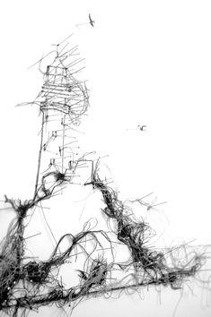 Debbie Smyth. Thread drawings.