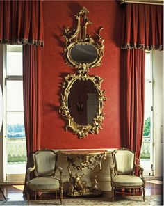 """a-l-ancien-regime: """"A gilt framed mirror in the saloon at Wrotham Park, Hertfordshire England Photo: June Buck """" English Decor, Decor, Palace Interior, Decor Design, Red Rooms, Beautiful Interiors, Beautiful Mirrors, Interior Design, Opulent Interiors"""