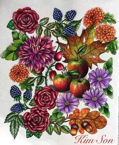 have just finished this page . Coloring Book Art, Mandala Coloring, Colouring Pages, Adult Coloring Pages, Flowers Nature, Colorful Flowers, Creation Art, Colored Pencil Techniques, Colouring Techniques