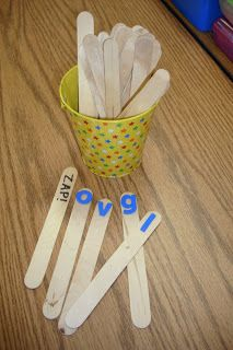 ZAP! For this game, put any skill you are practicing on a stick, in this case letter names/sounds. Students take turns drawing a stick, if he/she gets the answer correct he/she keeps it. If not, he/she puts it back. If ZAP! is drawn, that child has to return all of his/her sticks.