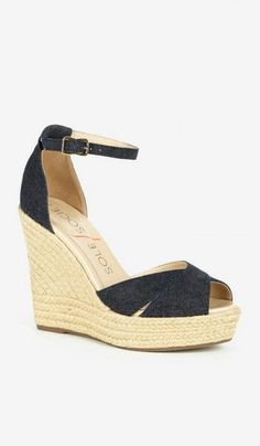 denim fabric platform espadrilles
