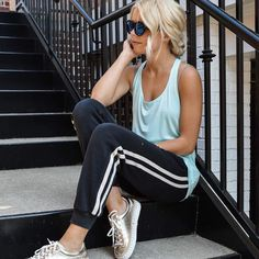 Trend alert! Athleisure wear is IN and we are on board! Stay cute AND comfortable in our Vintage Havanna sweats, a loose tank, and our Sam Edelman metallic sneakers! Shop in store, online, or call to order 678-309-9550! #shopatl #atlantaboutique #shoplocal #shopsmall #stayHIP #handinpocket #springstyle #springtrends #ootd #trendy #outfitinspiration #howtowearit #athleisurestyle #casualoutfit #metallicsneakers #vintagehavanna #samedelman #sweatpantsoutfit
