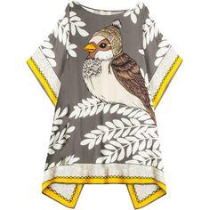 PAUL & JOE Bird Printed Kaftan (1,655 ILS) ❤ liked on Polyvore featuring tops, tunics, dresses, kaftan tunic, print tunic, caftan tops, print top and rayon tunic