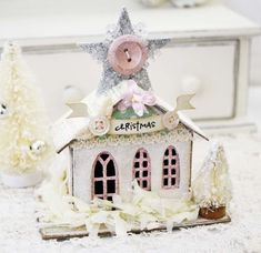 Adorable little glitter house by Melissa Phillips using chipboard house ornaments from Melissa Frances.