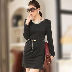 fa902fbbc0d1 asian dress wholesale office lady trendy winter dress k709 Black. big size  ...