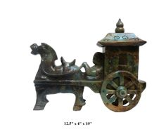 20% OFF SALE Chinese Oriental Jade Stone Carved Horse Cart Figure cs052