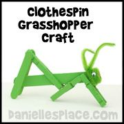 Grasshopper Clothespin Craft for Kids Home School Craft and Learning Activity from www.daniellesplace.com