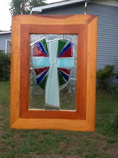 Stained glass Mosaic Cross Window Art Sun by MountainMosaicsmore