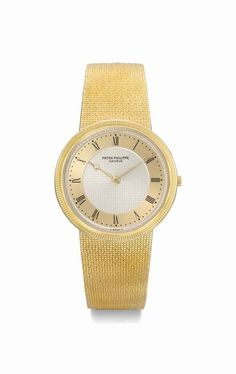 Patek Philippe. A fine and unusual 18K gold wristwatch with two-tone champagne dial and bracelet, manufactured in 1982 #ChristiesWatches