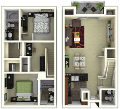 Fantastic plan, really like for me and squirrel Two Story House Design, House Front Design, Tiny House Design, Modern House Design, Modern House Plans, Small House Plans, House Floor Plans, Apartment Plans, Apartment Design