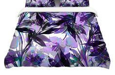 "AmazonSmile: KESS InHouse Ebi Emporium ""Floral Fiesta Lavender""Featherweight Queen Duvet Cover, 88 x 88"": Bedding & Bath"