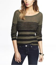 STRIPED ROLLED SLEEVE TUNIC SWEATER | Express