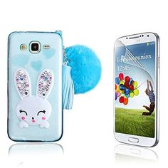 J7 Case Galaxy J7 Case Bonice Crystal Soft TPU Cartoon Rabbit Bling Diamond Ear Kickstand Silicon Case with Hairball Pompon Wristlet Hand Strap for Samsung Galaxy J7 2015  Screen Protector Blue *** More info could be found at the image url. (Note:Amazon affiliate link) #BestSellerBelow10