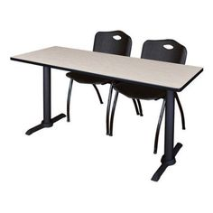 Cain 72 inch x 24 inch Mahogany Training Table and 2 M Stack Chairs, Multiple Colors, Black