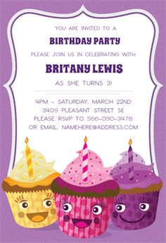 Smiling Cupcake printable invitation template. Customize, add text and photos.  Print, download, send online or order printed!
