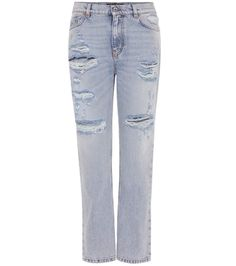 DOLCE & GABBANA - Embellished distressed jeans - Dolce & Gabbana takes one of the season's coveted denim silhouettes, and updates the straight leg, slightly high-rise fit with ultra-distressed detailing. Numerous unique rips and a faded wash are balanced out by fresh, sparkling berry appliqués on the back pockets. Wear yours out with one of the designer's signature colourful tops. - @ www.mytheresa.com