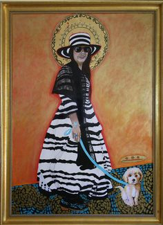 Saint Carmella of Santa Fe, Protectress of All Dogs and Puppies, Original Acrylic & Leaf Painting/Icon on Baltic Birch, Christina Miller by christinamiller on Etsy Catholic Gifts, Catholic Art, Christina Miller, The Good Catholic, Black And White Hats, Huge Dogs, New Saints, Painted Leaves, Art Challenge