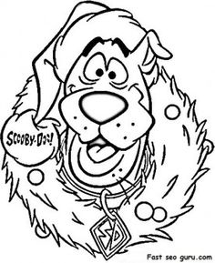 print out scooby doo wreath christmas coloring pages printable coloring pages for kids