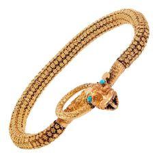 Victorian Textured Gold Snake Bracelet | From a unique collection of vintage retro bracelets at https://www.1stdibs.com/jewelry/bracelets/retro-bracelets/