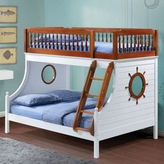 Shop Acme Furniture Farah White Oak Wood Veneer Twin Full Bunk Bed with great price, The Classy Home Furniture has the best selection of Bunk Beds to choose from Bunk Beds For Boys Room, Kid Beds, Kids Bedroom, Master Bedroom, Bed Rooms, Loft Beds, Bedroom Green, Bedroom Ideas, Bedroom Decor