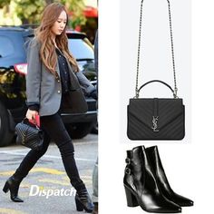 08582277aaad 151030 Krystal at KBS Building SAINT LAURENT CLASSIC MEDIUM COLLÈGE  MONOGRAM SAINT LAURENT