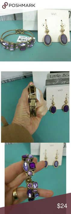 NWT: Purple Earrings and Bracelet Set Comes boxed ready for gift giving. Vivi Jewelry Jewelry