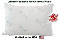 Ultimate Essence Of Bamboo Pillow - Extra Plush Edition - Down Alternative Hypoallergenic Poly Bed Pillows with Bamboo Derived Rayon / Poly Cover - Crafted in the USA (Queen)